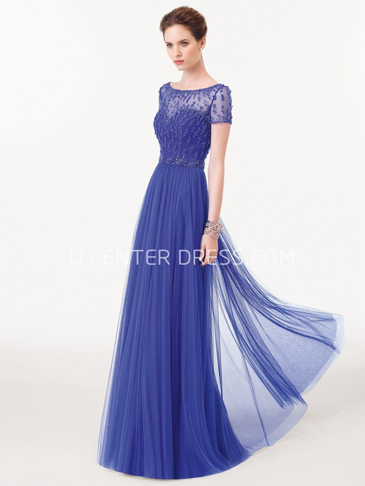 Bateau Neck Beaded Short Sleeve Tulle Prom Dress | Tulle prom dress ...