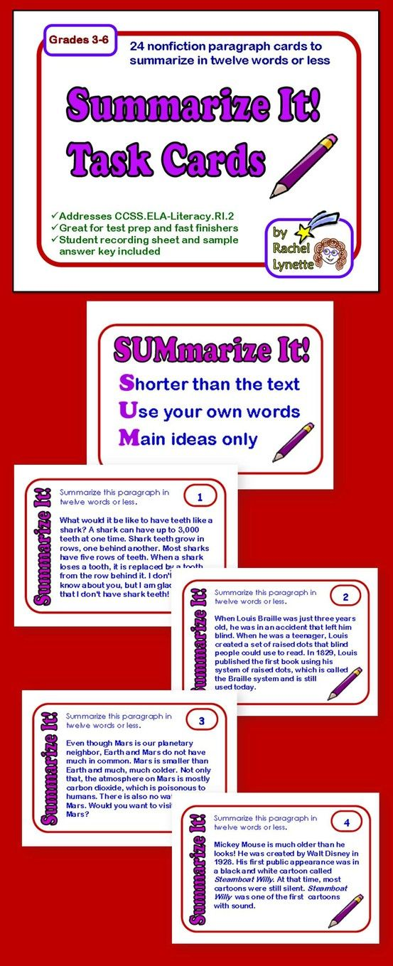 Summarizing Task Cards: Informational Text Short Passages to