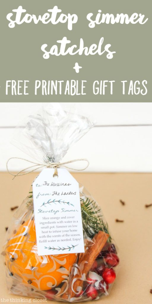 Stovetop Simmer Satchels & FREE Printable Gift Tags