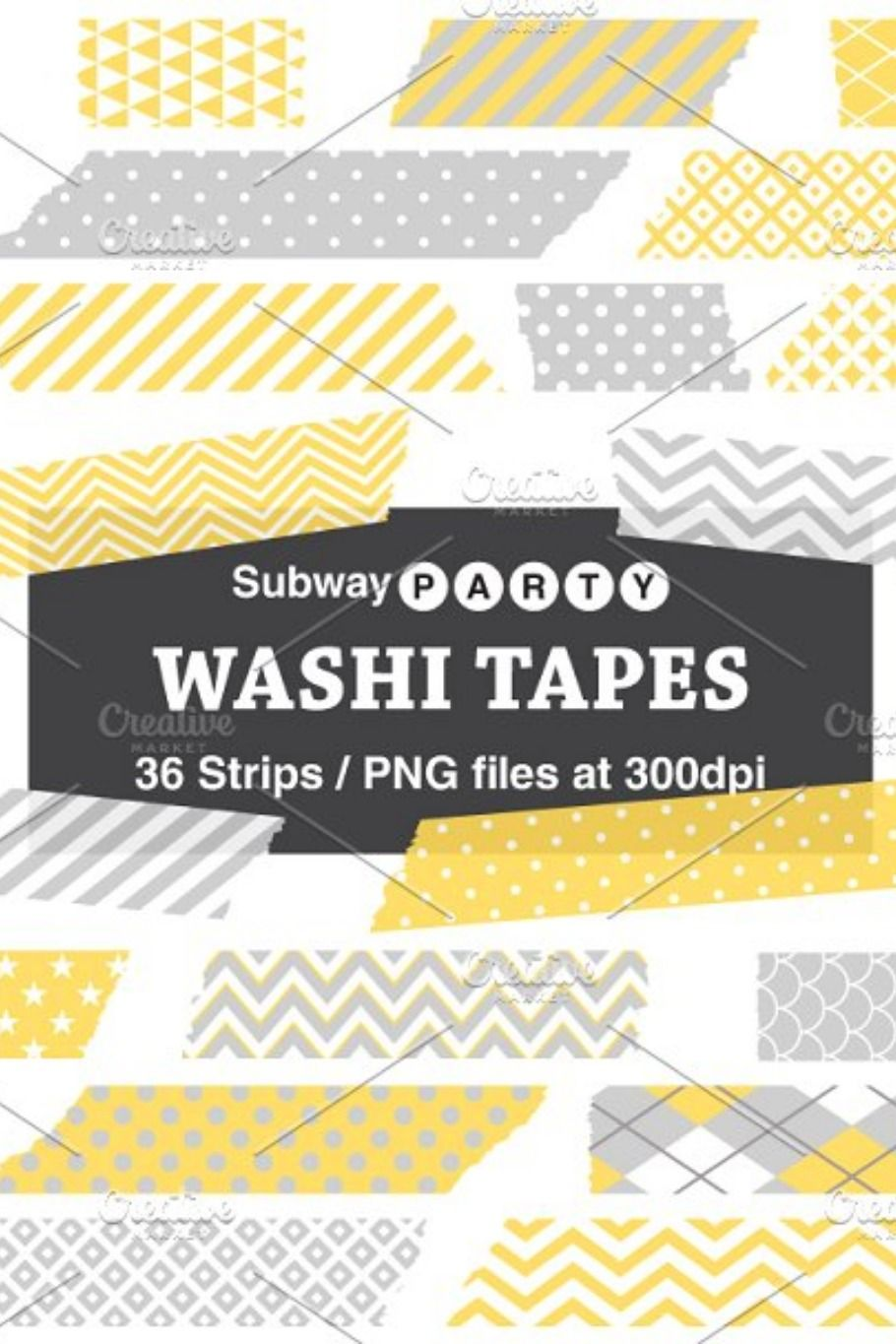 Gray Yellow Washi Tape Strips Silhouette Vector Digital Photo Frame Frame Layout