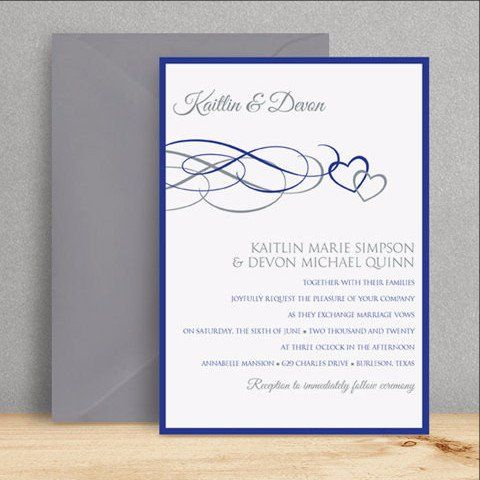 Hearts wedding invitation template 5 x 7 beloved royal blue hearts wedding invitation template 5 x 7 beloved royal blue silver stopboris Choice Image