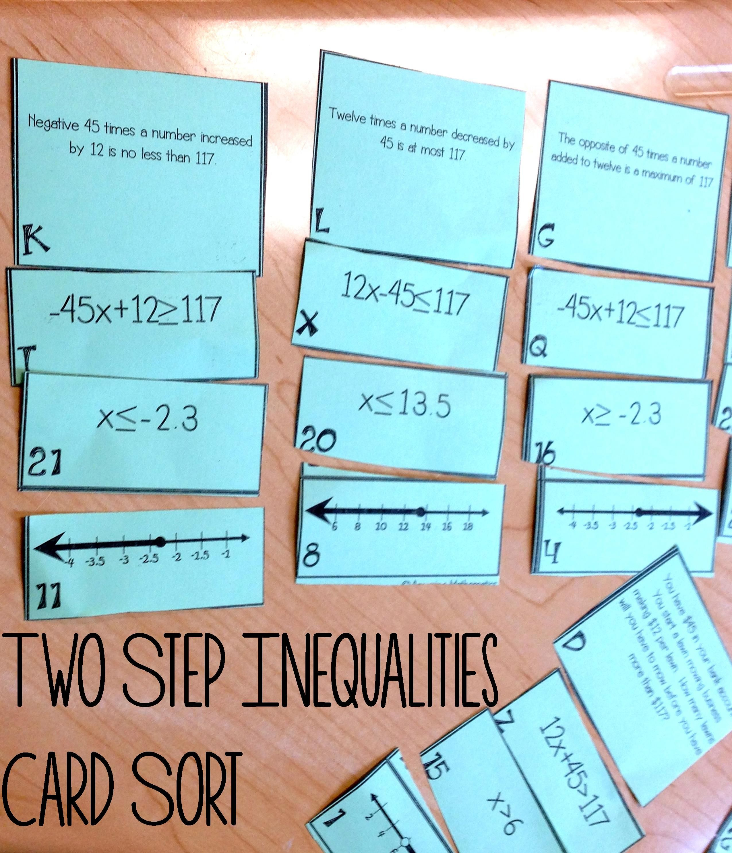 Two Step Inequalities on a Number Line Matching Cards | Word ...