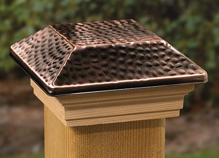"4-Pack Solar Hammered Brown Finish Post Deck Fence Cap Lights for 6/"" X 6/"""