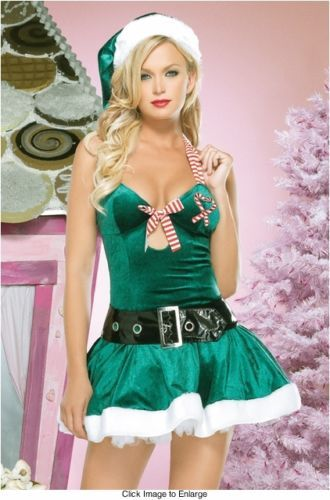 NEW GREEN SEXY SANTA MRS CLAUS ELF WOMEN CHRISTMAS COSTUME PARTY COSPLAY  DRESS 1174a7e6a