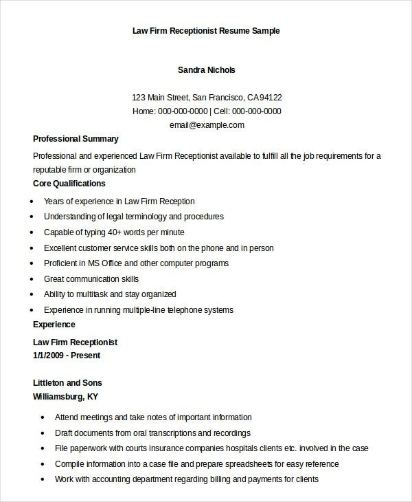Resume Sample  Best Legal Receptionist Resume Example LiveCareer