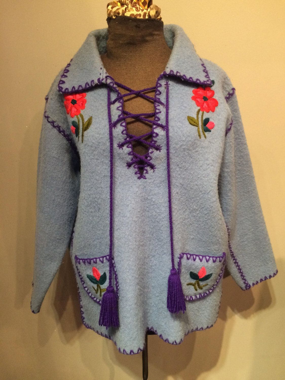 Blue 70s PullOver Sweater by CestLaVieBoutique6 on Etsy