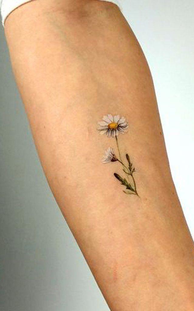 Photo of Small Tiny Watercolor Daisy Forearm Tattoo Ideas for Women –   ideas de acuarela…