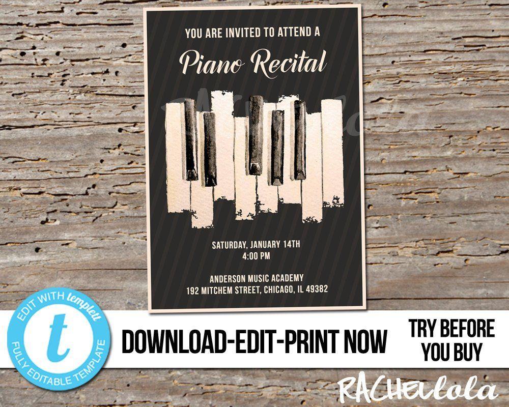 Editable Piano Recital Invitation Printable Template Senior Etsy Piano Recital Recital Teacher Retirement Parties