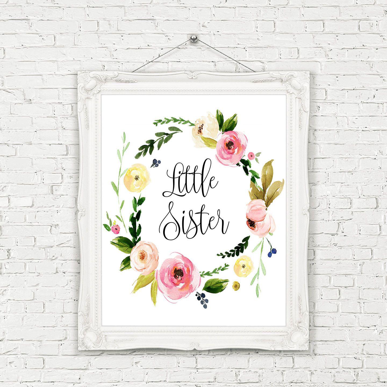 Little Sister Printable, Printable Little Sister Wreath, Little Sister Wall