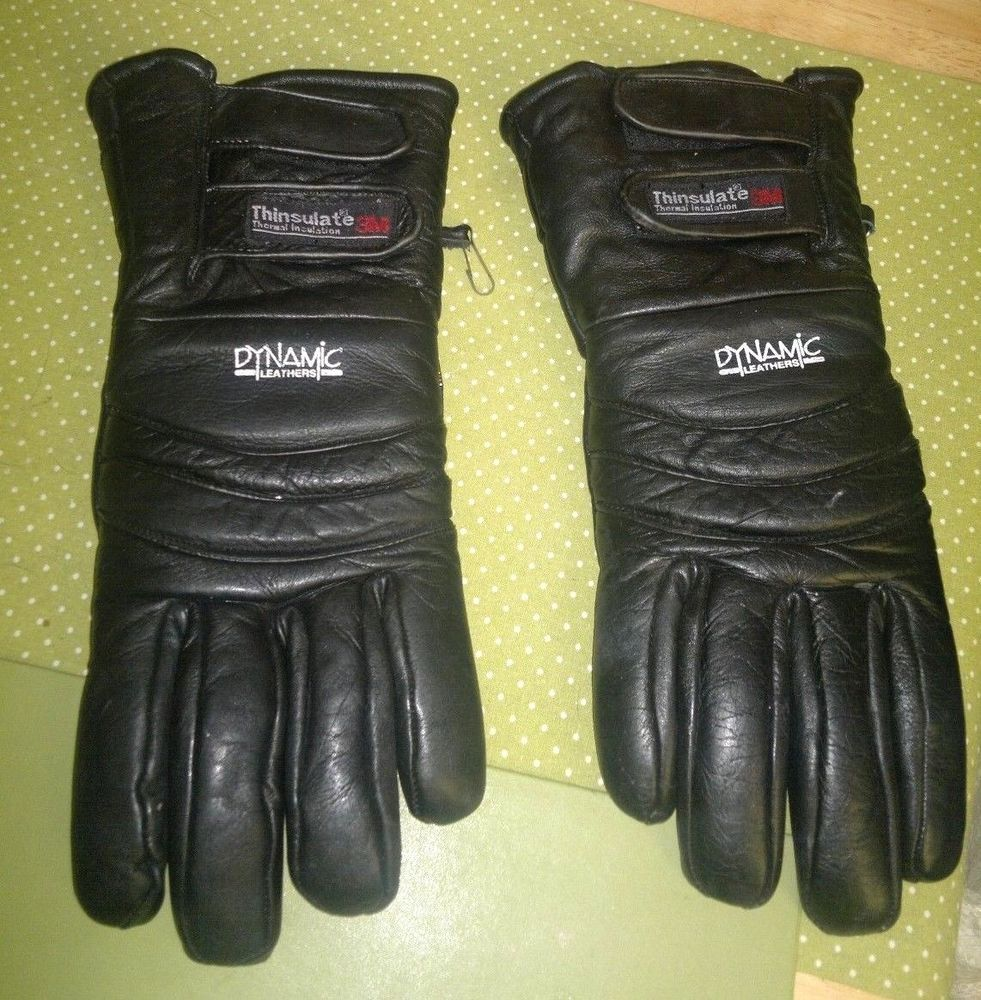 Dynamic black leather thinsulate motorcycle bikers gloves