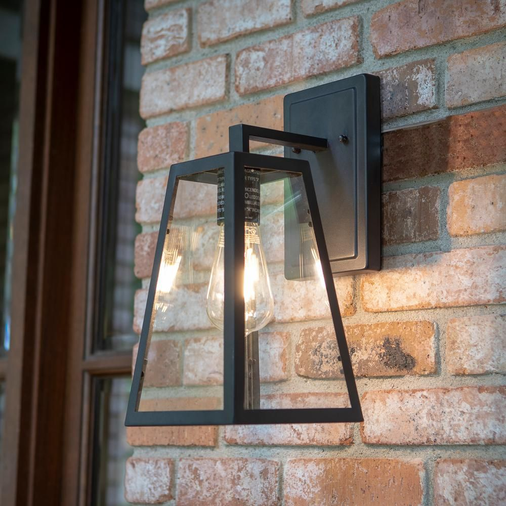 Home Decorators Collection Colonade Collection 1 Light Sand Black Outdoor Wall Lantern Sconce With Clear Glass 17702 With Images Outdoor Sconce Lighting House Lighting Outdoor Outdoor Light Fixtures