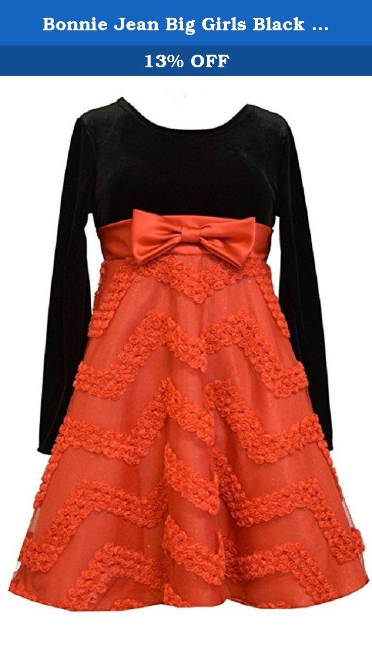 36d100f96f06 Bonnie Jean Big Girls Black Red Chevron Bonaz Party Dress 16. Beautiful  black stretch velour dress features red chevron taffeta bonaz design lined  skirt.