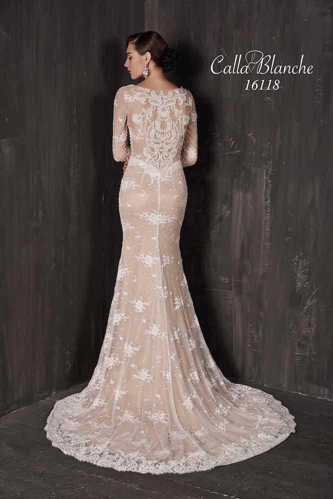 Calla Blanche Wedding Dress Gown Ivory Lace Over Blush Long Sleeve Mermaid