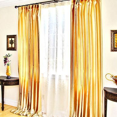 Satin Gold Curtain Panel Pair Gold Curtains Living Room Gold