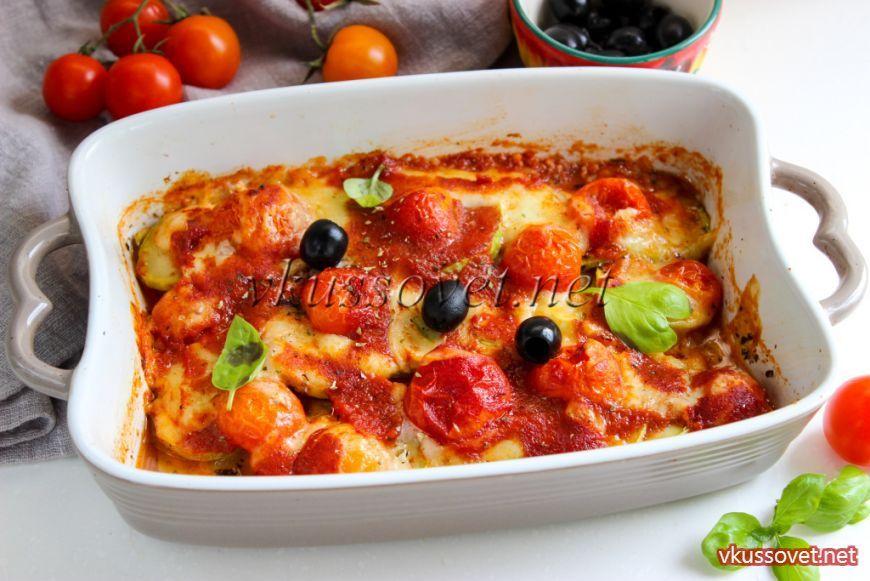 Кабачки с моцареллой и помидорами запеченные в духовке ...