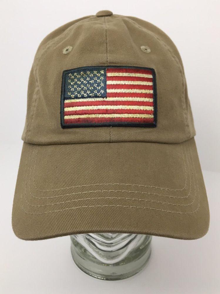 86bd59b58b9cc Orvis Baseball Hat Cap American Flag Patch Dark Khaki Strapback Adjustable   Orvis  BaseballCap