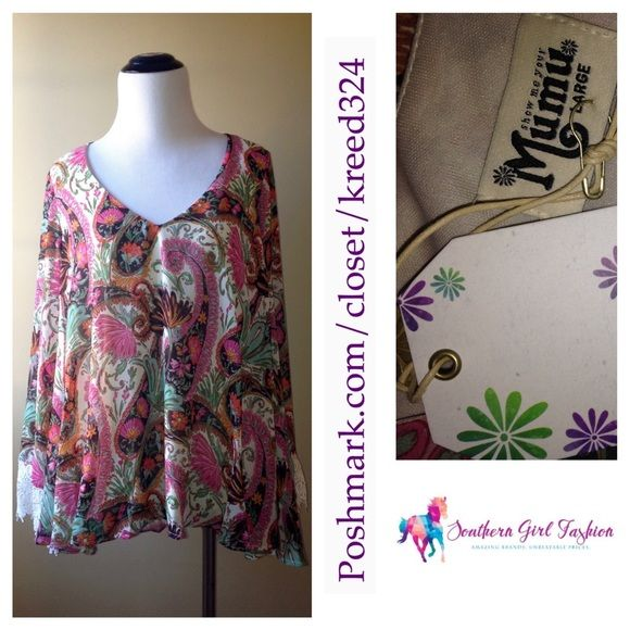 SHOW ME YOUR MUMU Top Printed Long Sleeve Blouse - Available in my #Poshmark closet in sizes Small and Large .  #ShowMeYourMuMu #ForSale #Shopping #sweaters #Tunic #Fashion #Sale #Bohemian #winter #ootd #comfortable #tops #chic #printed #blouses #tops #ShopMyCloset #SouthernGirlFashion