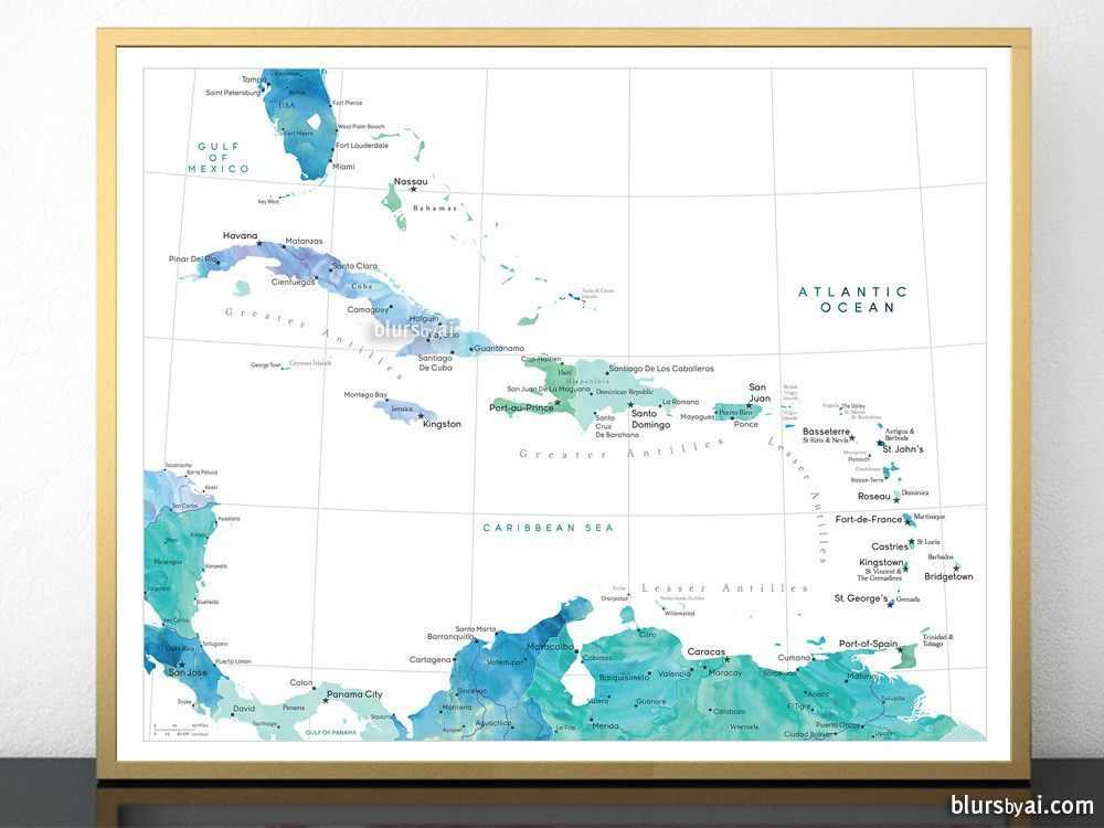 picture about Printable Map of Caribbean Islands titled Printable map of the Caribbean Islands, with capitals and