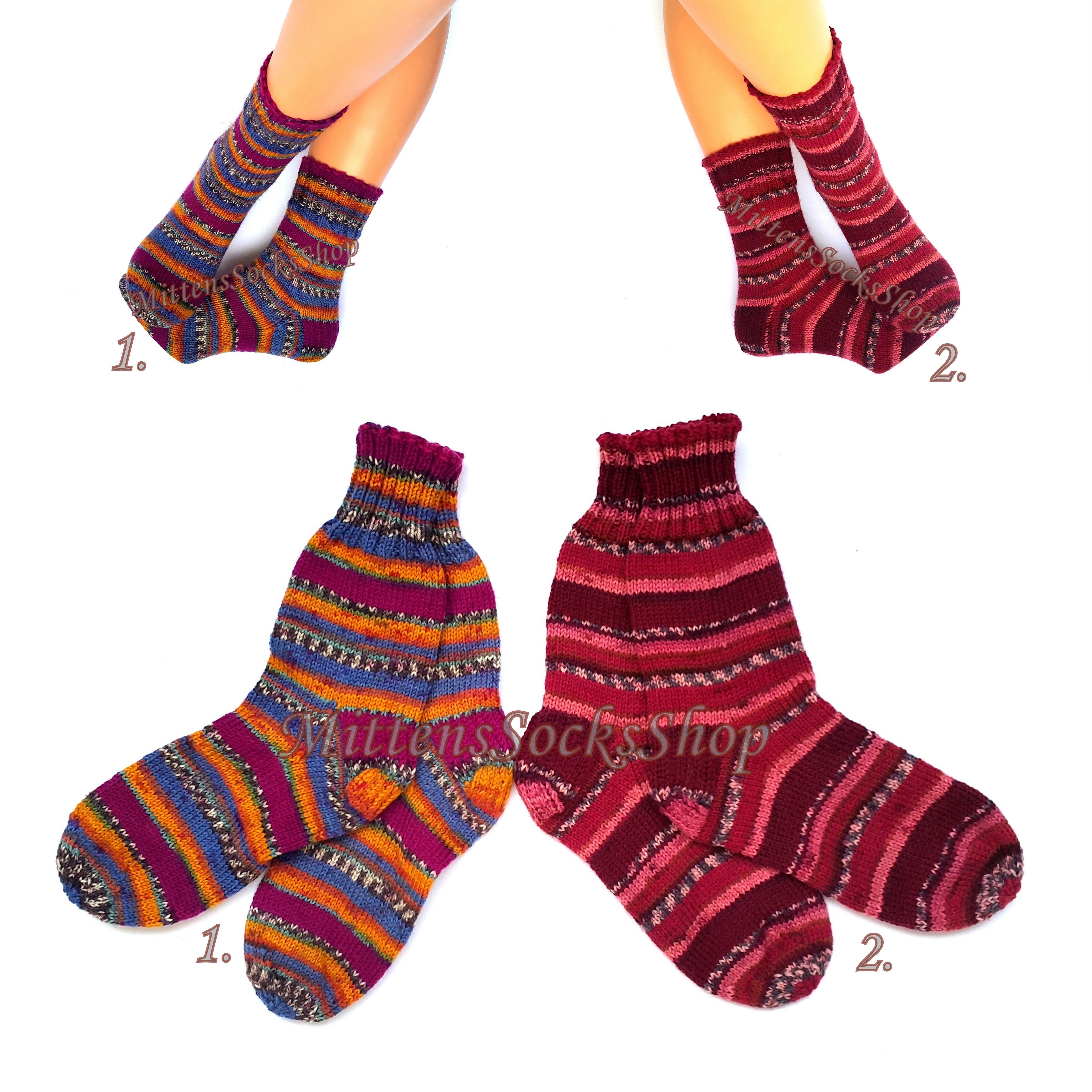 Funky Hand Knitted Winter Woollen Socks Rainbow