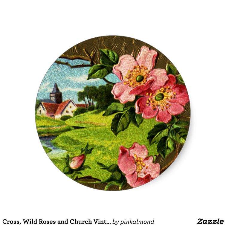 Cross wild roses and church vintage easter round sticker easter cross wild roses and church vintage easter round sticker negle Choice Image