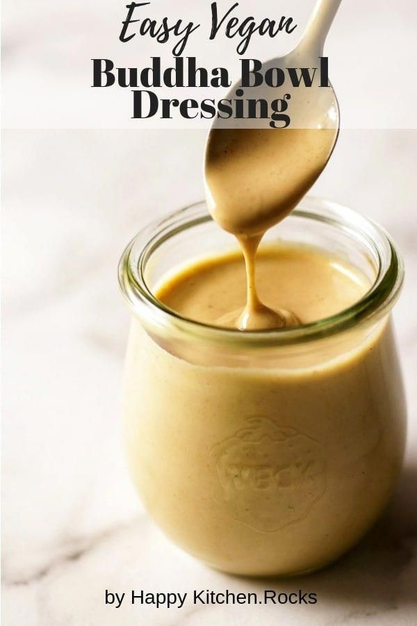This vegan tahini dressing is the sauce you've been waiting for to drizzle over your vegan bowl to make it even more delicious. You can also use it on falafel, salads, or anything else you want a delightfully sweet and tart creamy vegan dressing for; this Buddha bowl dressing will make any plate more delicious. | happykitchen.rocks