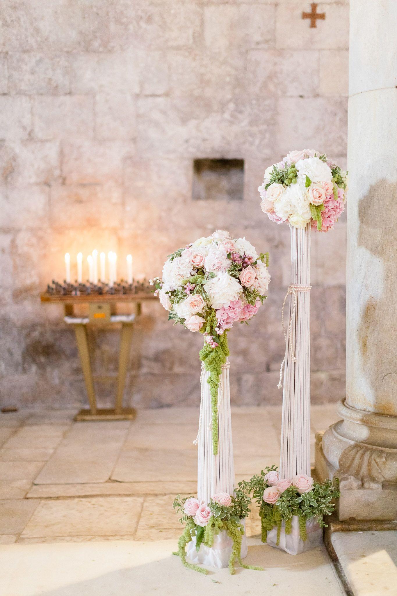 Decorazione Per La Chiesa Bianco Rosa Verde Romantico Elegantissimo Fiori Per Matrimoni Matrimonio Mod Wedding