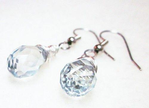 Wire wrapped Swarovski crystal earrings