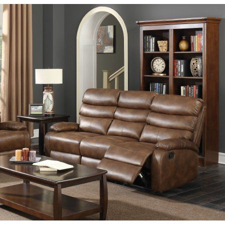 acme mingus reclining sofa in coffee faux leather upholstery rh pinterest ca