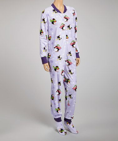 c8c7add4f581 Take a look at this Lilac Penguin Footie Pajamas - Women by Dolce ...