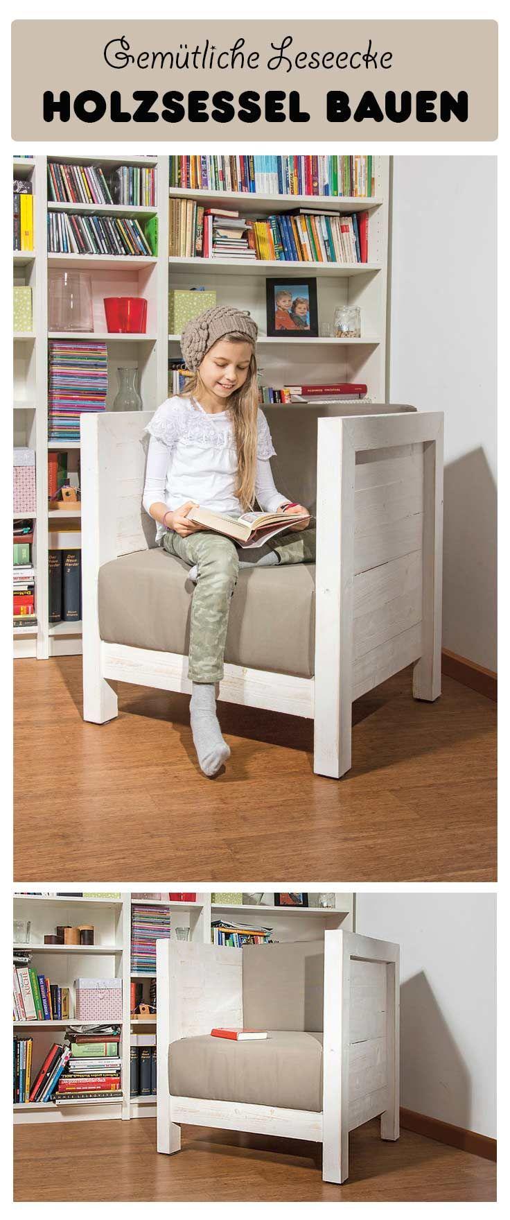 perfekt f r die leseecke ist dieser gem tliche holzsessel den sessel kannst du selbst bauen. Black Bedroom Furniture Sets. Home Design Ideas
