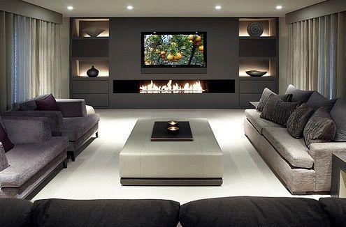 Sleek, Modern Living Room. I Love That Back Wall With The Fire Feature,