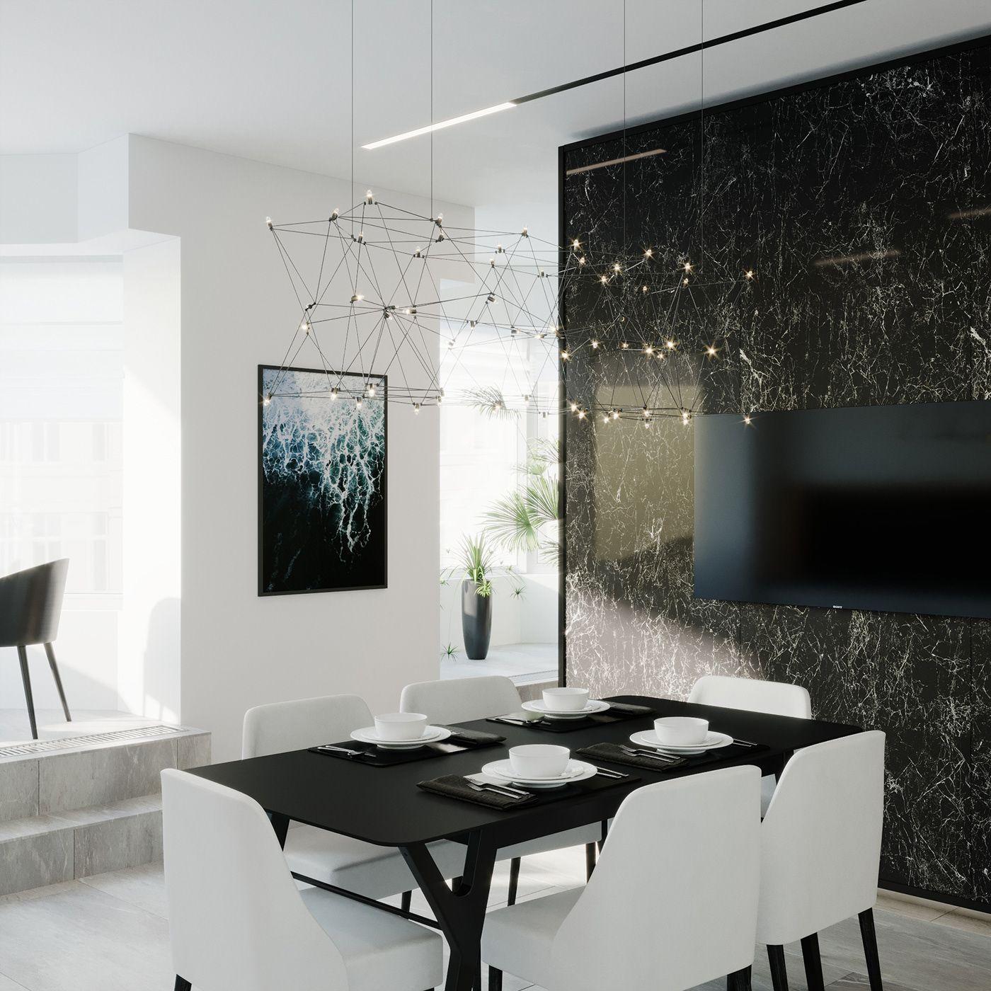Dizajn Kuhni Minimalizm Cherno Belyj White Apartment