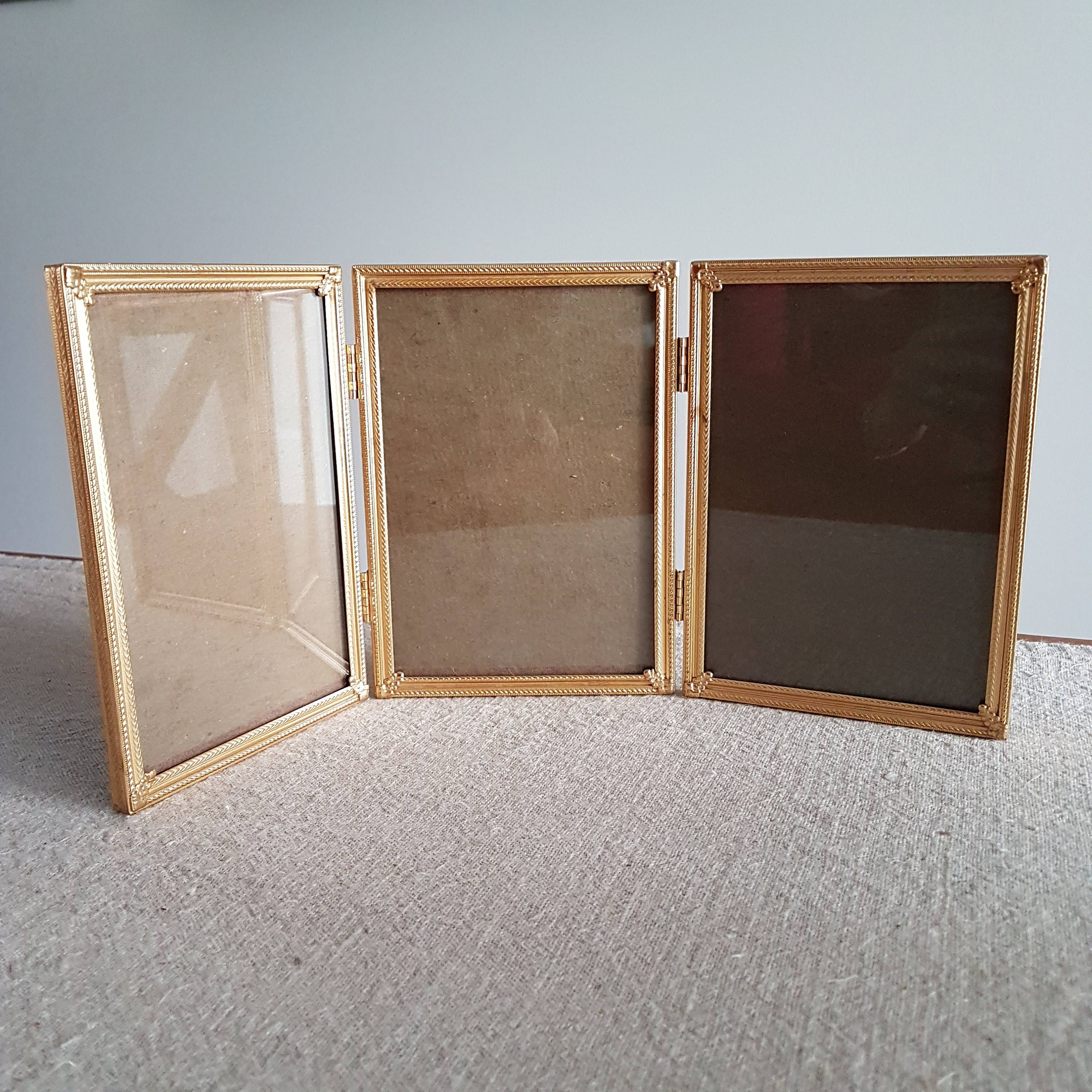 5 X 7 Folding Gold Metal Hinged Picture Frame Trifold Three