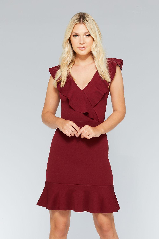 Berry frill v neck dress in dress pinterest dresses v