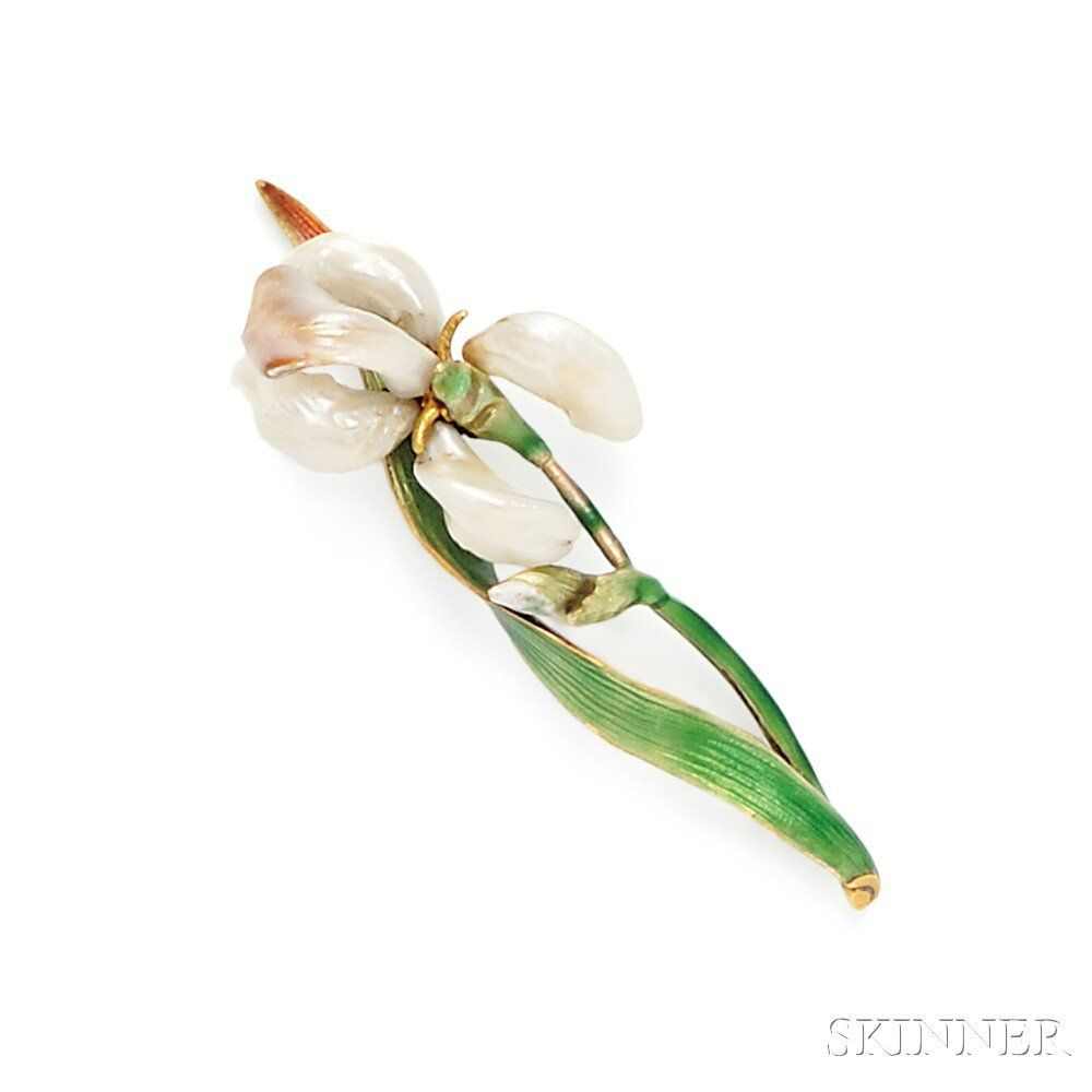Art Nouveau 18kt Gold and Baroque Freshwater Pearl Iris Brooch, Marcus & Co. Photo: Courtesy of Skinner, Inc.