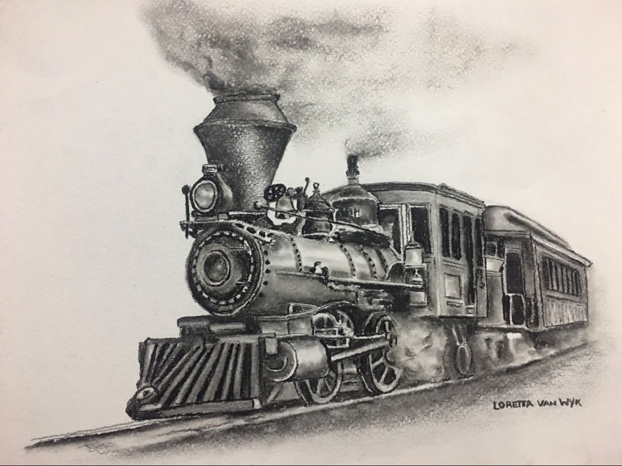 Charcoal sketch of a steam train for my Grandson. (With ...