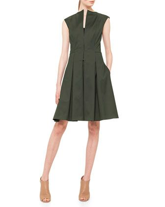 Half-Zip Box-Pleated Fit-And-Flare Dress by Akris punto at Bergdorf Goodman.