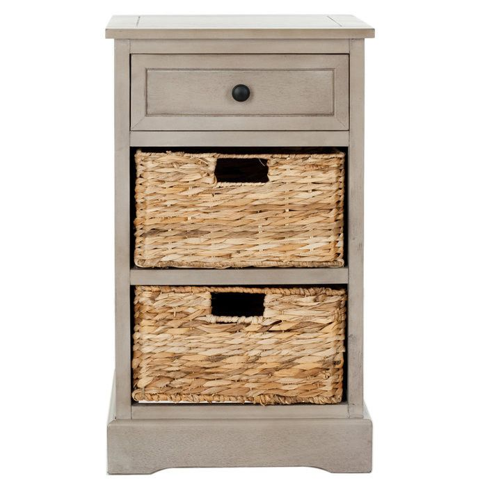 Accent Table Or Night Stand With Wicker Baskets Boxes Instead Of Drawers Or Recesses
