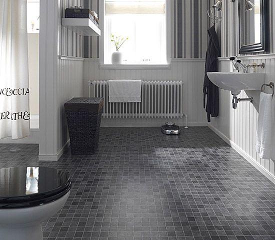 Painted Vinyl Linoleum Floor Makeover Ideas: Waterproof Bathroom Flooring
