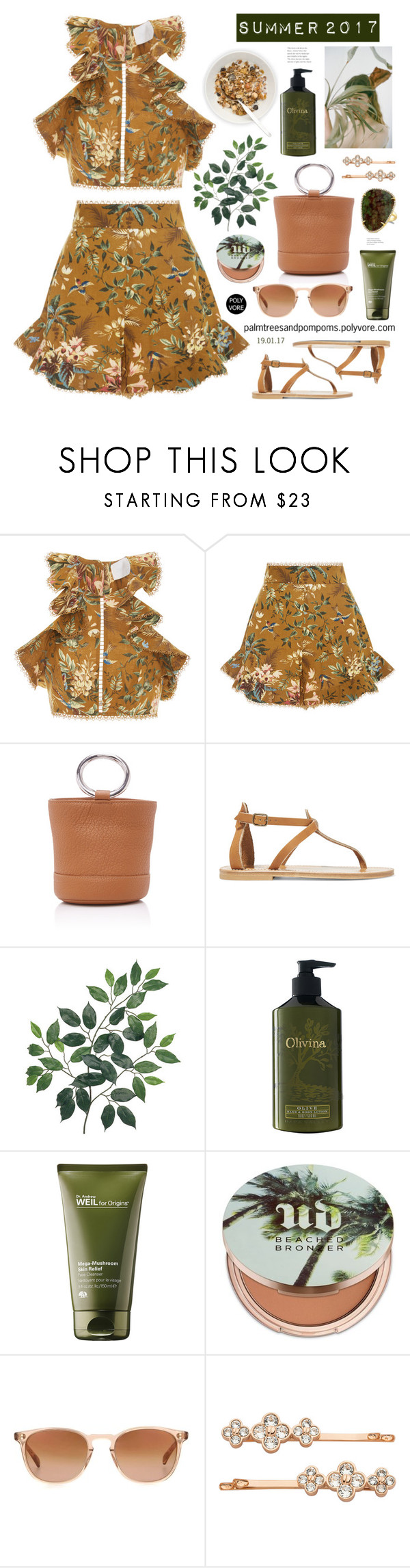 """""""Summer 2017"""" by palmtreesandpompoms ❤ liked on Polyvore featuring Zimmermann, Simon Miller, K. Jacques, Olivina, Origins, Urban Decay, Oliver Peoples, Henri Bendel and Anne Sisteron"""