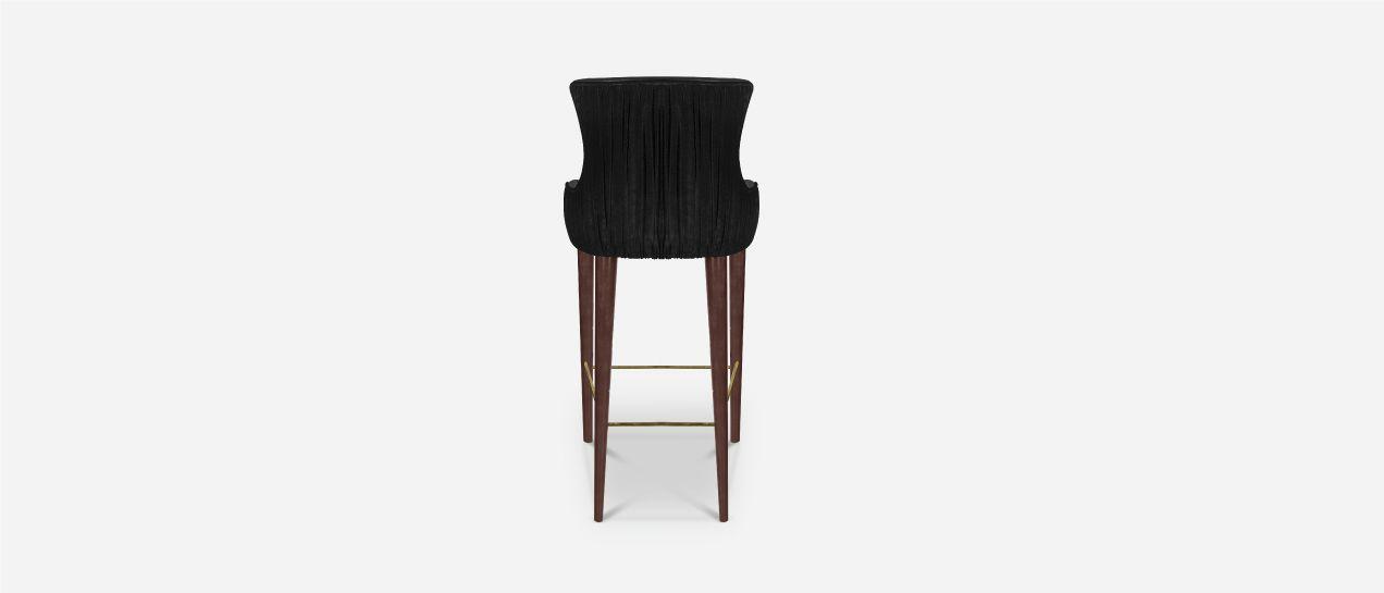 2cf4a66a889248 Gardner Mid-Century Modern Bar Chair has long legs in walnut wood with  polished brass