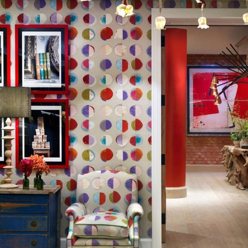 Go bold with funky pattern and bright, vibrant colors for an uplifting feel. Use this look in hotel lobbies to give guests a sense of excitement as soon as they walk in! Click to see more inspiring commercial interiors. #Interiordesign #hotellobby #hoteldesign #funkydesign #bolddesign #interiordesign #inspiringinteriors