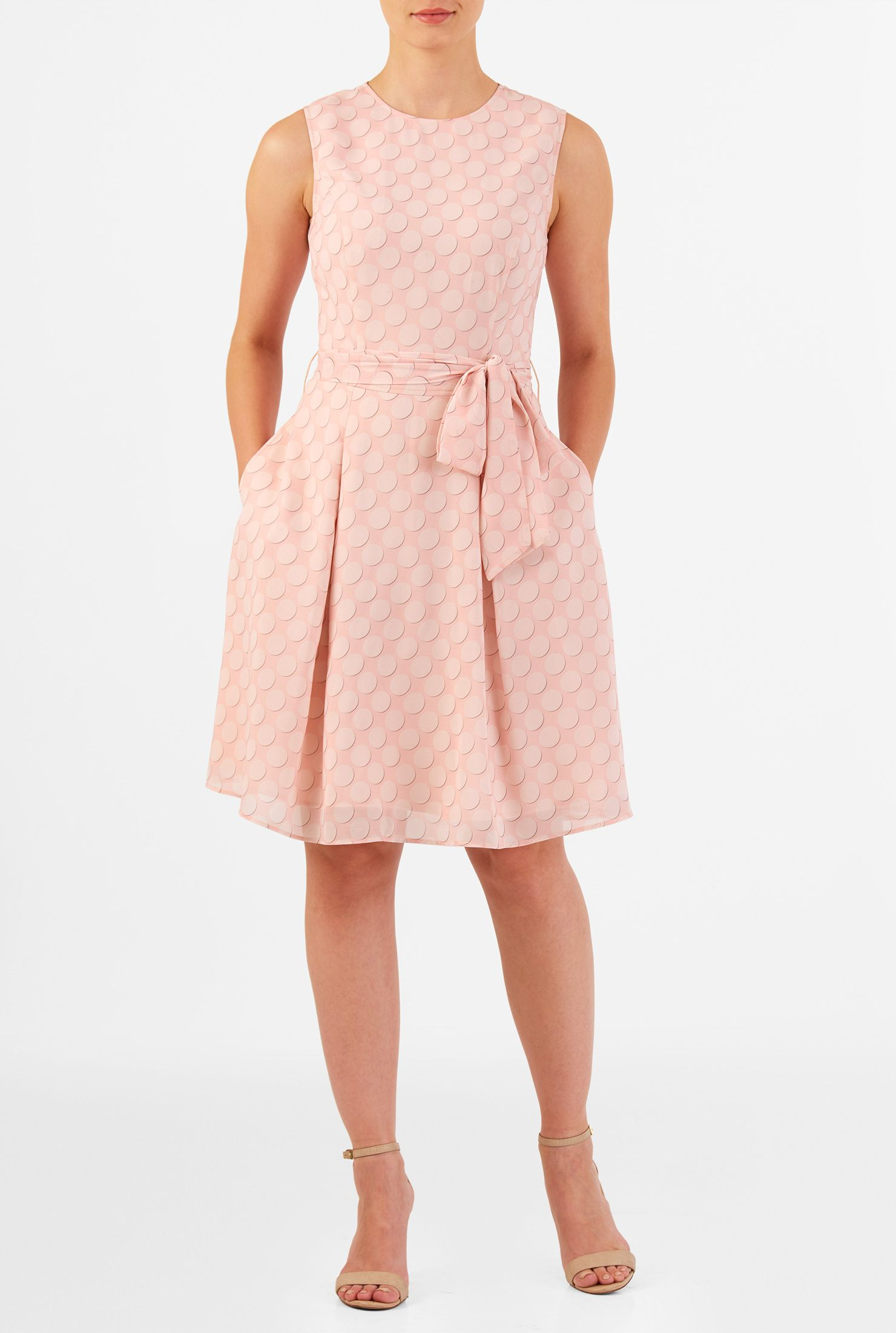 Polka dot print georgette sash tie dress | Box pleat skirt, Box ...