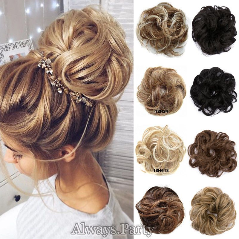 Real Natural Curly Messy Bun Hair Piece Scrunchie New Fake Hair Extensions Lc Premium Quality Synthetic Hair Cl Bun Hair Piece Fake Hair Pieces Fake Hair Buns