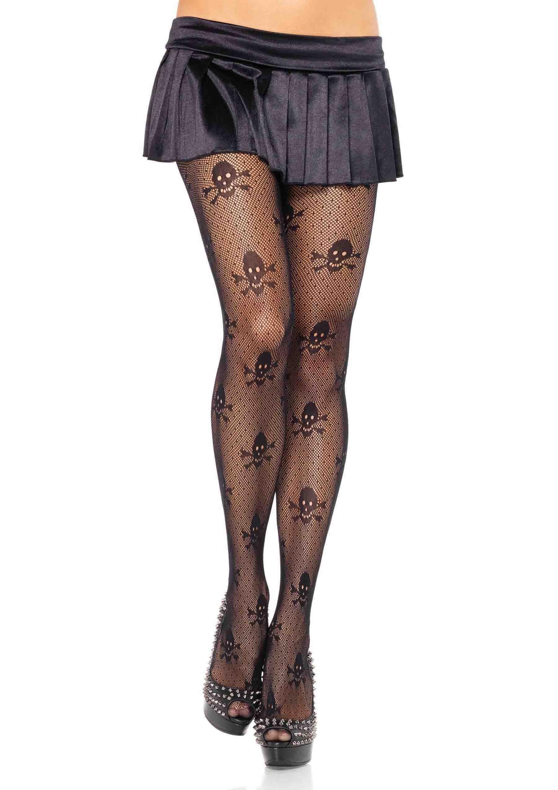 Leg Avenue Halloween Sheer Micro Net Skull Print Tights Pantyhose Fancy Dress