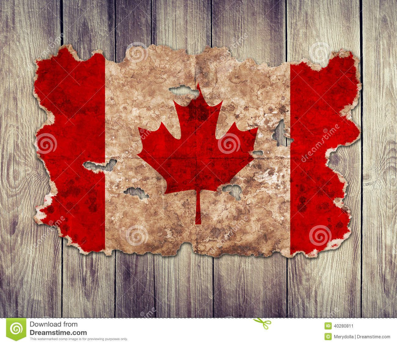 Bandera De Canadá En Forma De Papel Rasgado Del Vintage Foto de ...