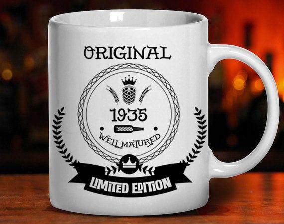 80th birthday birthday mug 1935 birthday 80 by BeaBeaCollection