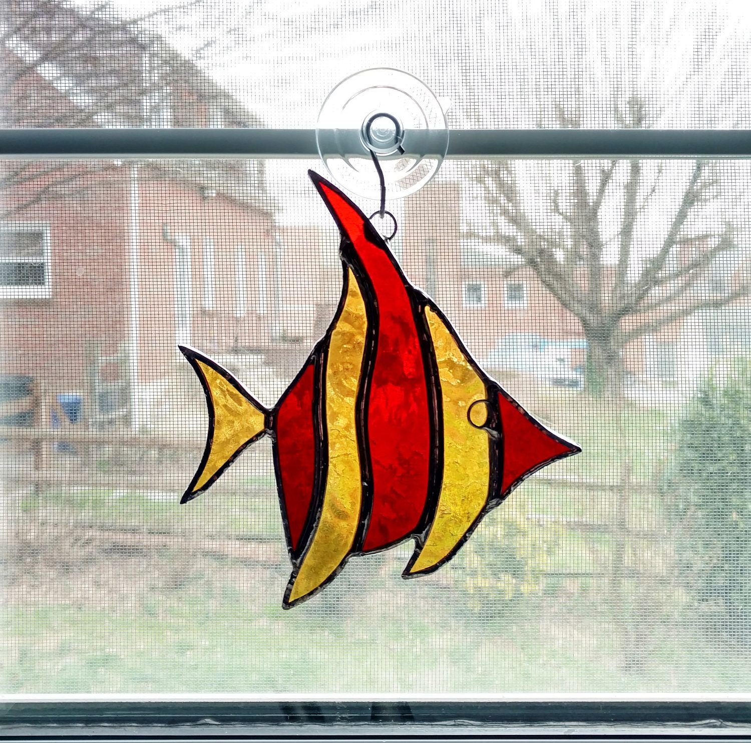 Stained Glass Fish Suncatcher - Angel Fish - Fish Ornament - Red ...