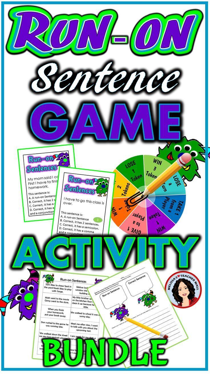 Run On Sentences Activity And Game Run On Sentences Sentence Activities Sentences