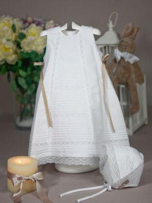 eaaec1427 Faldon lino blanco encaje paz rodriguez bautizo